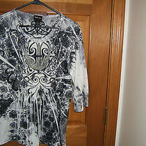 Style & Co. Black & White Blouse With Attached Necklace    Size Medium Photo