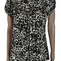 style&co Blouse Cheetah Zest Pleated Puff Sleeves Polyester Top Women's M 20 Photo