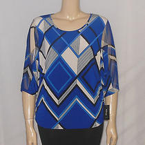 Style & Co Blouse Plus Size 0x Blue Plaid Side Ruched Dolman Sleeve New 52 Photo