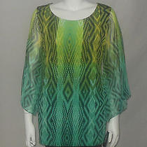 Style & Co Blouse Size 0x Green Geometric Print Flare Sleeve Tunic Top New 52 Photo