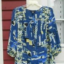 Style & Co. Blue Print 3/4 Sleeve Keyhole Neck Sheer Peasant Blouse Medium (43