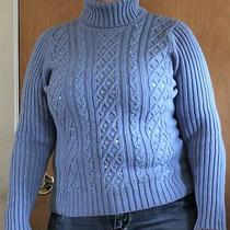Style & Co Blue Turtlenect Beaded/sequin Sweater  Women's L Photo