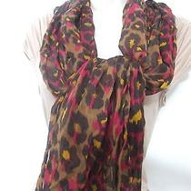 Style & Co Brown Fuschia & Gold Tones Animal Leopard Design Crinkled Scarf Wrap  Photo