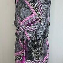 Style & Co Dress Womens Size Large Pink Black White Paisley Blouson Zig Zag Photo