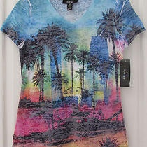 Style & Co. From Macy's Women Short Sleeve Petite Tee Pxs Blue Tropical New Photo