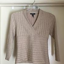 Style & Co Gold Metallic Knit Ribbed v-Neck Sweater Petite Sz Pl   Euc Photo