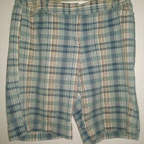 Style & Co. Ladies Sz 12p Walking Shorts Lt. Blue Plaid Zip-Up Cotton Photo