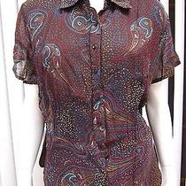 Style & Co. Macy's Short Sleeve Blouse Size 14w Multicolored Print  Photo