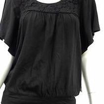Style & Co. Misses Womens Kimono Tunic Top Sz Xs Lace Ebony Black Sale Designer Photo
