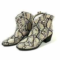 Style & Co Mykenna Western Style Ankle Booties White Brown Snake 7.5m Photo