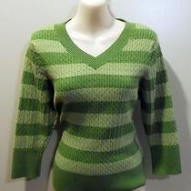 Style & Co Petite Size Large Green Striped v-Neck 3/4 Sleeves Pull Over Sweater Photo