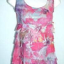 style&co. Petite Sz Pp Sleeveless Sequined Pink Floral Ruffles Top Nwt 42 Photo