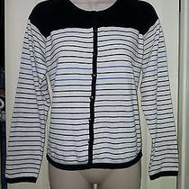 Style & Co Petite Womens Black White Stripped Button Down Cardigan Large Sweater Photo