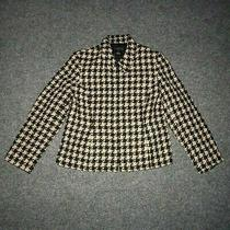Style & Co. Plaid Black Beige Vintage Women's 12 Collared Zip Bomber Jacket  Photo