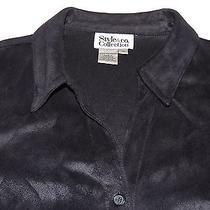 Style & Co Shirt Jacket Women Sz 14 Black Soft