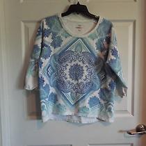 Style & Co Sport 3/4 Sleeve Sweatshirt Estimate Womens Large Blue Green Paisley- Photo