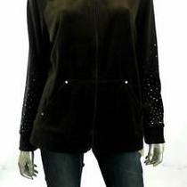 style&co. Sport Velour Misses Womens Embellished Hoodie Sz L Brown Zipper Sale Photo