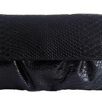 style&co. Tabitha Python Large Foldover Clutch Black New 39 Photo