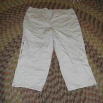 Style & Co White Cotton  Flat Front Straight Leg Capri Pants Women's 18w Photo