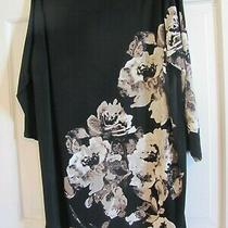 Style & Co. Woman Black Flower Print Scoop Neck Knee Length Tunic Dress Plus 1x Photo