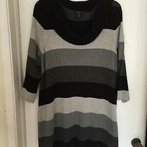 Style & Co Woman Tunic Top Bold Black & Gray Stripes Size 1x Photo