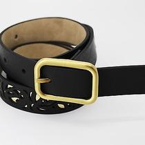 style&co Women's Belt Metallic Perforated Black Belt Size L Photo