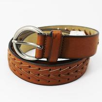 Style & Co Women's Belt Silver Tone Hardware Whiskey Brown Buckle Size M Photo