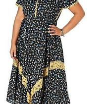 Style & Co. Women's Dress Black Size 0x Plus Floral Print Henley Maxi 79 222 Photo
