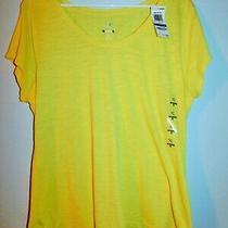 Style & Co Women's Medium Short-Sleeve Scoop-Neck Tee Citrus Lemon Iii Photo
