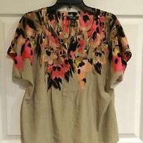 Style & Co. Womens Petite Large Beige Black Pink Shirt Gold Embellishments Photo
