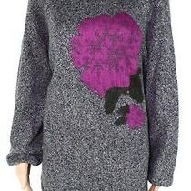Style & Co Women's Sweater Gray Size 1x Plus Knitted Floral Jacquard 69 060 Photo