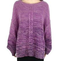 Style & Co Women's Sweater Purple Size 1x Plus Cable Marled Knit Crew 69 093 Photo