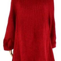 Style & Co Women's Sweater Red 3x Plus Knit Boat Neck Bishop Sleeve 56 173 Photo