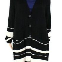 Style & Co Women's Sweaters Black White Size 1x Plus Cardigan Striped 89 083 Photo