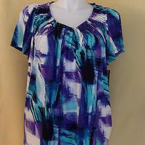 Style & Co Womens Blue Multi-Color Shirt Plus Size 2x Nwt 20361 Photo