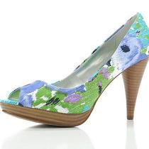 Style & Co Womens Celine Blue Floral Fabric Peep Toe Platform Pumps 6 W Photo
