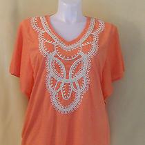 Style & Co Womens Orange Shirt Embellished Plus Size 1x Nwt 20360 Photo