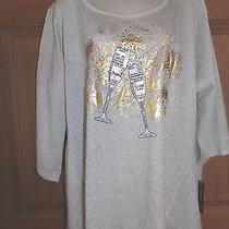 Style & Co. Womens Plus Shirt Gold Sequin Champagne Glass Tunic Top 0x New 52 Photo