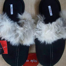 Style & Co. Womens Slippers Black Slides Medium 7/8 Photo