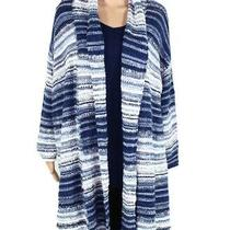 Style & Co Womens Sweater Blue 3x Plus Striped Open Front Cardigan 89 096 Photo