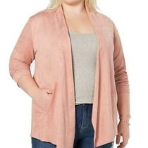 Style & Co Womens Sweater Blush Pink Size 3x Plus Cardigan Faux-Suede 89 066 Photo