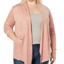 Style & Co Womens Sweater Mauve Pink Size 1x Plus Faux-Suede Cardigan 89 129 Photo