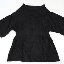 style&co. Womens Sweater Size M Black Solid Dolman Chunky Knit Cowl Neck Top New Photo