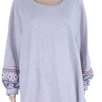 Style & Co. Womens Sweatshirt Gray 0x Plus Embroidered Bishop Sleeve 59- 079 Photo