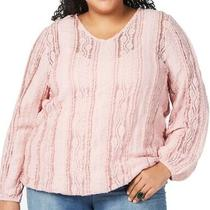 Style & Co Womens Top Pink Size 2x Plus Floral Lace v-Neck Stretch 69 063 Photo