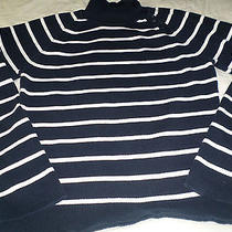 style&co. Womens Xl Navy White Stripe Button Mock Turtleneck Ribbed Knit Sweater Photo