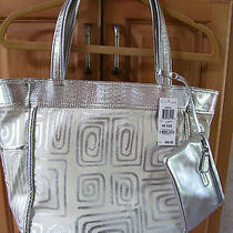 Style & Company Tote/diaper Bag With Zip Purse White/silver Nwt Photo