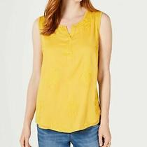 Style & Company Womens New Yellow Jewel Neck Sleeveless Casual Top S Bb Photo