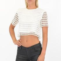 Style Stalker Piano Shell Top in White Size Extra Small -Free Shipping Photo