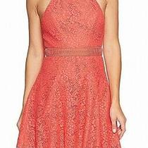 Stylestalker Women's Dress Coral Pink Size Small S Floral Lace a-Line 110 587 Photo